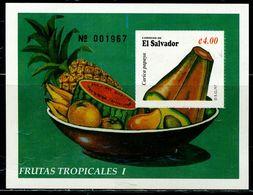 AZ3673 El Salvador 1997 Fruit Pineapple Papaya S/S MNH - Plants