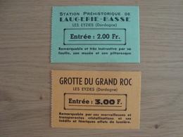 LOT DE 2 TICKETS D'ENTREES ANCIENS GROTTE GRAND ROC LAUGERIE-BASSE LES EYZIES DORDOGNE - Tickets - Entradas