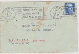 OMEC Caen Gare Calvados «circuit De Vitesse Automobile Caen 27 Juillet» 20/07/1952 - Mechanical Postmarks (Advertisement)