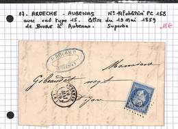 07 -  ARDECHE - AUBENAS - No 14F Oblitéré PC 158 Avec Cad Type 15 - Lettre Du 19/05/1859 De Boure A Aubenas - Postmark Collection (Covers)