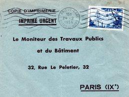 (L409) N° 1038 (Nice) Sur Lettre Tarif Imprimé Urgent Copie D'imprimerie De St Brieuc Vers Paris - Francia