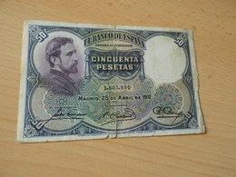 Bank Of Spanien 50 Pesetas 1931 - [ 2] 1931-1936: Republik