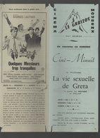 Mourenx / (cinéma) Programme LA VIE SEXUELLE DE GRETA/ LE GRAND BLOND.. (M0134) - Programs