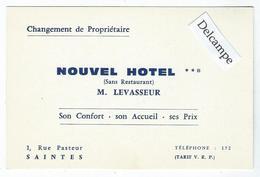 """SAINTES (17) - Carte Commerciale Du """"Nouvel Hôtel"""", 1 Rue Pasteur - 12 X 8 Cm Environ - Saintes"""