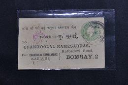 INDE - Entier Postal + Compléments ( Au Verso ) En Recommandé De Karachi Pour Bombay En 1913 - L 61401 - 1911-35  George V