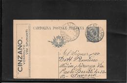 Italia,Intero Pubblicitario CINZANO 15 Ct., Filagr. R3A/23 Da Calizzano A Savona ( Ref 4064) - Ganzsachen