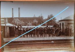 Photo ADINKERKE De Panne 1915 Gare Station Train Trein Fanfare Armée Belge WO1 Oorlog 1914-18 ABL Belgische Leger - Lieux