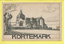 * Kortemark (West Vlaanderen) * (Kunstanstalt Wilhelm Hoffmann, Dresden, Nr A16) Dessin, église, Kerk, Church, Moulin - Kortemark