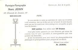Carte Publicitaire Phototypie Marc Jehin Bruxelles (500 Cartes = 10 Francs) - Werbepostkarten