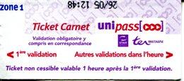 Ticket Carnet Uni-pass Métro - Bus - SNCF De Rennes Métropole - Bus
