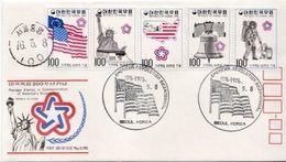 South Korea USA Independence Set On FDC - Unabhängigkeit USA