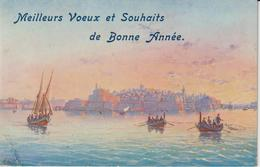 MALTE THE CITY OF VALLETTA  CARTE MEILLEURS VŒUX ET SOUHAITS DE BONNE ANNÉE VALLETTA MALTA FROM THE HIGH SEA - Malta