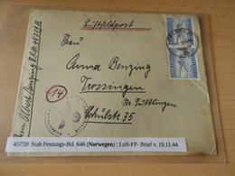 Luftfeldpost Brief Stab Festungs-Batl.646(Norwegen) 1944 - 1939-45