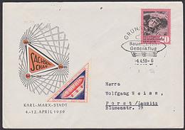 Luftschiff Zeppelin Baumgarten Gedenkflug GRÜNA (Sachs) Mit Vignette Und SSt. Zur Sachsenschau 1959 - [6] Oost-Duitsland