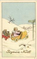 Illustrateur Petit Ange Au Volant D'une Voiture Sabot Trainant Une Carriole De Jouets  Joyeux Noel  RV - Scènes & Paysages