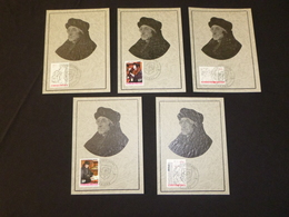 """BELG.1967 1427 1428 1429 1430 & 1431  Mcards  : """"  Erasme/Erasmus """" - 1961-70"""