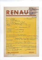 Document Bon De Commande Renault  92 Billancourt Annee 1933 - Cars