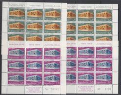 Europa Cept 1969 Yugoslavia 2v 2 Sheetlets TYPE I + Type II ** Mnh (47819) - Europa-CEPT