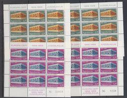 Europa Cept 1969 Yugoslavia 2v 2 Sheetlets TYPE I + Type II ** Mnh (47820) - Europa-CEPT