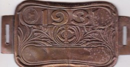 Plaque Fiscale Vélocipèdes 1931 - Steuermarken