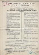 Document Publicitaire Proces Cverbat De Reception  Camions Chevrolet  General Motors  92 Puteaux Et 76 Le Havre 1932 - Cars