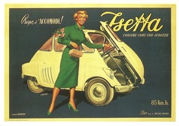 Automobile Tri-roues BMW ISETTA 1954 ISO RIVOLTA Como SCOOTER Affiche MOSCA Cppub FORNEY-PARIS REPRO NUGERON J107 - Toerisme