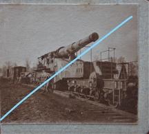 Photo X2 Recto Verso PAARS Région Soissons Bazoche Canon ALVF 320mm Artillerie Voie Ferrée Heavy Gun Railway Train WW1 - Guerra, Militari