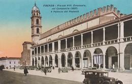 FAENZA (RAVENNA) CARTOLINA - PIAZZA VITT. EMANUELE COL CAMPANILE (1607) E PALAZZO DEL PODESTA - Faenza