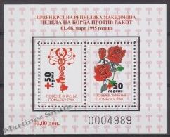 Macedonia 1995 Beneficience BF Yvert 9, Fight Against Cancer - Miniature Sheet - MNH - Macedonia