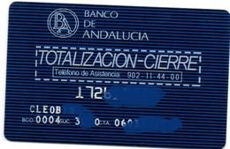 Bank Old Credit Card Spain Visa Or  Master BANCO DE ANDALUCIA TOTALIZACION CIERRE - Tarjeta De Credito - Cartes De Crédit (expiration Min. 10 Ans)