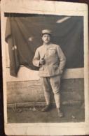 Carte Photo, Soldat Fumant La Pipe, Papier Guilleminot, écrite D'Eclaron ? Haute Marne, 52, Hiver 1917-1918, Militaria - Guerra 1914-18