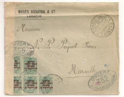 1917 DE LARACHE  MOSES ASSAYAG A MARSEILLE/ CENSURE MILITAIRE /  ZONE DE PROTECTORADO ESPANOL EN MARRUECOS    C311 - Spanisch-Marokko