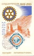 Rotary International Coat Of  Arms, Castle, World Map 1955, Maximum Card  Monaco - Cartoline Maximum