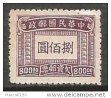 CHINE / 1949-.... REPUBLIQUE POPULAIRE / TAXE N° 82 NEUF - 1949 - ... République Populaire