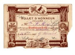 Billet D Honneur Roy Mme 1925 Devoir Religion Patrie Honneur Arts Commerce Industrie Bonne Conduite - Documentos Históricos