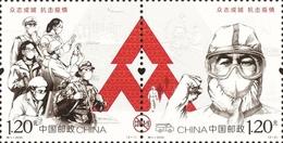 China 2020 Anti COVID-19 Set Of 2v - Unused Stamps