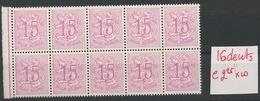 15c  16 Dents  1026 CA  Cote 22,50 Lke Bloc De 10 ** - 1951-1975 Heraldic Lion