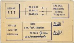 VIEUX PAPIERS.  RESEAU P. T. T.  ARSENAL MARITIME.  ATELIER AVIATION TOULON LE MOURILLON  DIM 120 X 65 - Old Paper