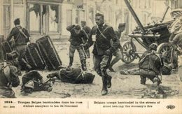 Troupes Belges Barricadées Dans Les Rues D'Alost EERST WERELDOORLOG BELGIË BELGIQUE 1914/18 WWI WWICOLLECTION - Guerre 1914-18