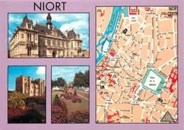 79 - Niort - Multivues - Carte Géographique - Plan No 60 De L'Atelier Bordelais De Cartographie - Fleurs - Carte Neuve - - Niort