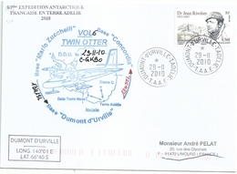 YT 557 Dr Rivolier - Transport Par Avion Twin Otter - Dumont D'Urville - Terre Adélie - 29/11/2010 - Covers & Documents