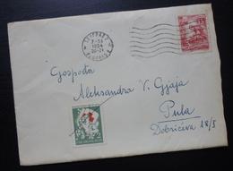 Yugoslavia 1954 Serbia Red Cross PORTO Stamp On Cover To Croatia B2 - 1945-1992 République Fédérative Populaire De Yougoslavie