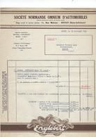 Facture  76 Rouen Sciete Normande Omnuim D'automobile  Annee 1932 - Cars