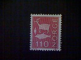 Norway (Norge), Scott #612, Used (o), 1974, Rock Carvings, 110ø, Rose Carmine - Norvège