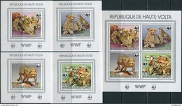 Haute-Volta 1984. Michel #957/60 Klb+4 Bl.- A MNH/Luxe. WWF. Animals. Gepard (Ts30) - Alto Volta (1958-1984)