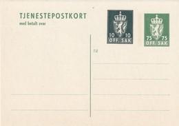 NORVEGE - ENTIER POSTAL - N° DP45 (1974) Avec Carte Réponse Payée - Entiers Postaux