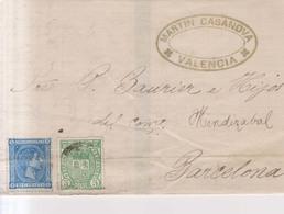 Año 1875 Edifil 154-164 Sello Escudo Y Alfonso XII Carta Matasellos Valencia Membrete  Martin Casanova - 1875-1882 Regno: Alfonso XII