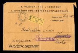 AUSTRIA-DALMATIA - Judicial Letter Sent By Registered Mail From Sibenik/Sebenico 1913. - 1850-1918 Imperium