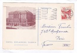 Carte 15 X 10  -  HOTEL  ESPLANADE,  ZAGREB.  JUGOSLAVIJA - Joegoslavië