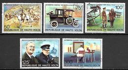 HAUTE VOLTA   - 1975 .Y&T N° 333 à 337 Oblitérés.  Série CHURCHILL.  Cheval, Voiture, Avion ... - Alto Volta (1958-1984)